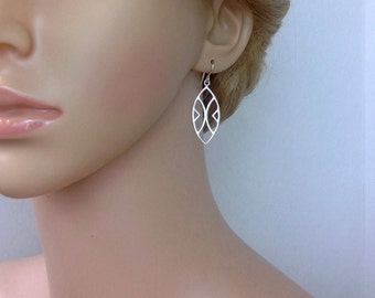 Sterling silver geometric earrings; silver chandelier earrings; long silver earrings