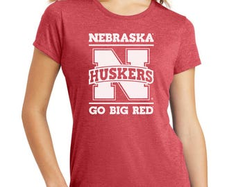 Women's Nebraska Cornhuskers Nebraska Huskers GO BIG RED Premium Tri-Blend Tee Shirt Officially Licensed Husker Apparel And Game Day Gear