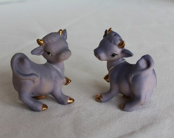 Vintage Freeman McFarlin Originals Figurine, The Holy Cow, Salt and Pepper Shakers, California Pottery, Purple Cow, Cows, Kitchen (C221)
