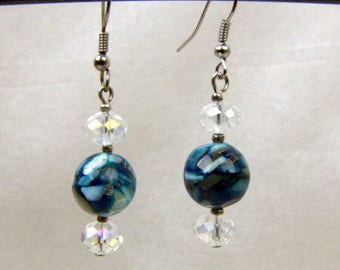 Mother of Pearl Beaded Earrings ~ Original ~ Iridescent Cut Crystal ~ Ocean Blue  ~ Pierced ~ Dangle ~ Silver Tone ~ Handcrafted