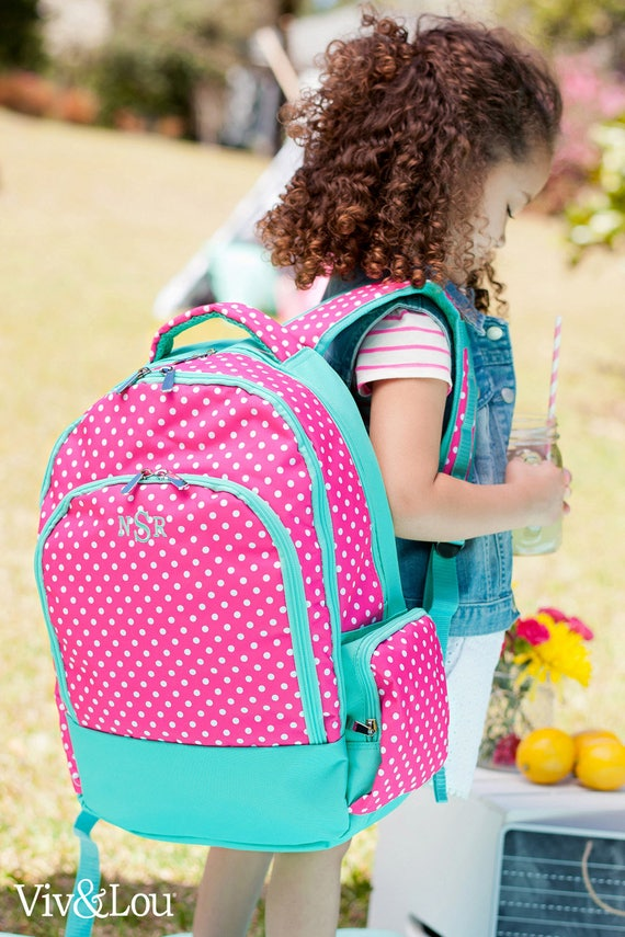 Monogrammed Backpack Pink Polka Dot Backpack Girls Book Bag Pink and Mint Backpack Back To School School Supplies Highway12Designs