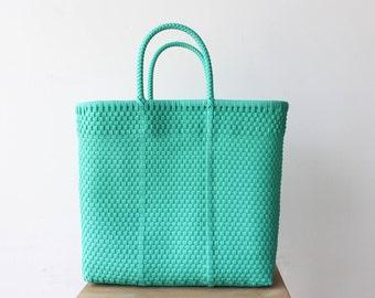 Aqua Handwoven Tote, Mexico Bag, Mexican Tote, Oaxaca Tote, Woven Tote Bag, MexiMexi Bag, Woven Tote, Hand-woven Mexican bag