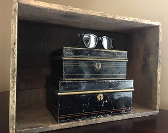 Vintage Money Box, Cash Box. Beautiful Hand Painted Pin Strips. Great Home Decor