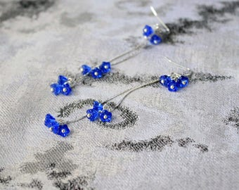 blue earrings cluster earrings long dangle earrings cobalt blue jewelry silver earrings wife gift for girlfriend gift for blue gift пя253