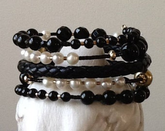 Black Onyx, Pearls and Black Braided Leather Memory Wire Bracelet