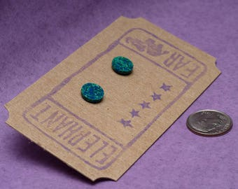Speckled Glass Cabochon Post Earrings