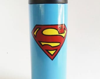 Superman - Super Hero - 18oz RTIC Bottle - Powder Coated Tumbler - Stainless Steel Insulated Thermos - Water Bottle