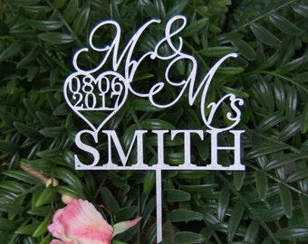 Personalized MR&MRS NAME with the Date Wedding Cake Topper, Anniversary - Bridal Shower - Wedding Gift, Cake Decor,  Rustic Chick Wedding
