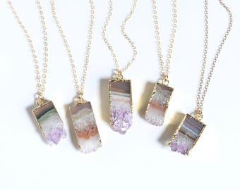 Raw Amethyst Stone Necklace, Amethyst Geode, Boho Jewelry, Summer Jewelry Trend, Raw Amethyst, Amethyst Slice, Boho Chic