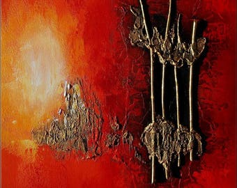 "Abstract contemporary textured with wood acrylic painting ""ODYSSEY"" Black red golden yellow orange white tableau abstrait contemporain"