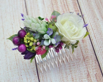 Gift/for/daughter Bridal hair comb Wedding hair style Bridesmaid hair comb White rose hair comb Summer wedding Purple Pink flower comb