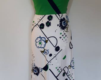 Vintage 70s maxi dress by Marti of Melbourne Made in New Zealand 70s white green navy floral dress size medium Uk 12