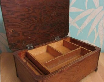 Vintage Art Deco-style wooden sewing/art box with removable inner compartment