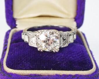 Vintage Diamond Engagement Antique Diamond Engagement Ring 1.31 Carat Diamond 14k White Gold Engagement Ring 1920's Art Deco Engagement