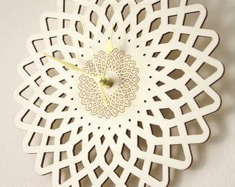 Wooden clock, natural home decor, geometric flower, oriental pattern, rose-shaped decoration, wood engraved, wall art design, silent movment