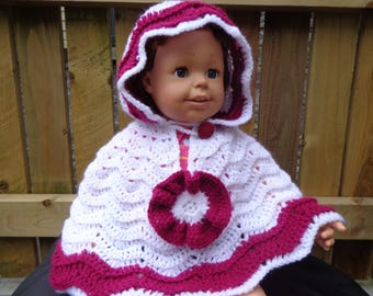 Baby poncho crochet hooded cape handmade 6-12 months knitted sweater