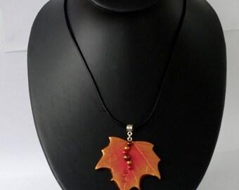 Autumn leaf necklace, Sycamore leaf pendant, leaf pendant, autumn jewellery, leaf jewellery, leaf necklace, woodland jewellery, autumn leaf