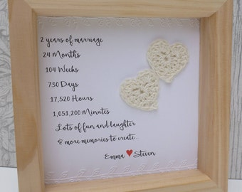 Cotton anniversary gift  2nd wedding anniversary gift, ,2 year anniversary, second cotton anniversary, personalised frame, 2nd wedding gift