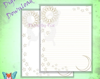 Sun And Moon Stationery, Sun And Moon Paper, Writing Paper, Lined Stationery ,  Lined Stationary Paper