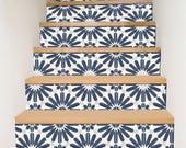 """Escalier Riser autocollants - amovible escalier Riser vinyle autocollants - Stellino Pack de 6 dans l'encre bleue - Peel & Stick escalier Riser déco bandes - 48"""" de long"""