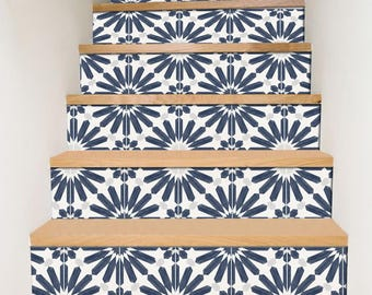 "Stair Riser Stickers - Removable Stair Riser Vinyl Decals - Stellino Pack of 6 in Ink Blue - Peel & Stick Stair Riser Deco Strips - 48"" long"