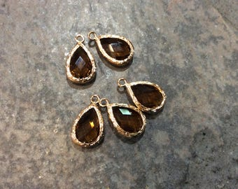 Topaz Brown Bezel Set Faceted Glass Charms Teardrop Shaped Faceted Pendant Charms in Gold finish November birthstone
