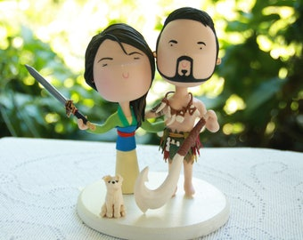 Adventure Couple - Dressed as Mulan and Maui Cheeky couple. (Hands in butt). Anniversary. Unique keepsake