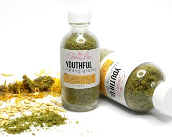 Anti Aging Cleansing Grains - Youthful Facial Grains, Clay Cleanser, Exfoliating Cleanser, Vegan Skincare, Face Wash