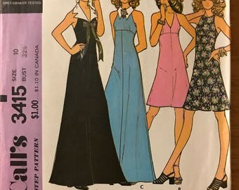 McCalls 3415 - 1970s A Line Dress with Maxi or Knee Length with Sleeveless Athletic Cut and Notched Collar Option - Size 10 Bust 32.5