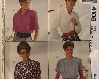 McCalls 4106 - 1980s  Womans Day Easy to Sew Pullover or Button Front Blouse with Jewel Neck or Pointed Collar - Size 10 12 14