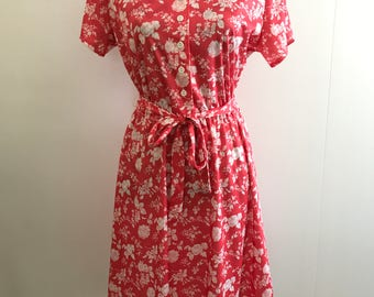 vintage 80s coral & white floral summer tea dress