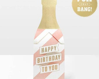 Happy Birthday Greeting Card in a Champagne bottle shape, Pink and White Party card for a friend, Celebrate in style greeting card