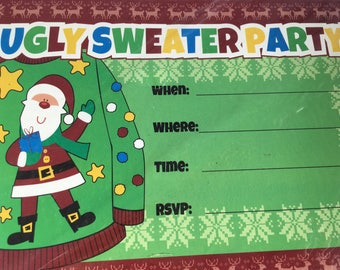 """Ugly Sweater Christmas Party Invitations, 10 Cards & Envelopes, 5"""" x 7"""""""