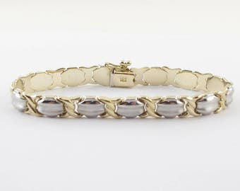 14k Yellow And White Gold Women's Bracelet - Two Tone Gold  Hugs And Kisses Bracelet 7 Inches 10.7 grams