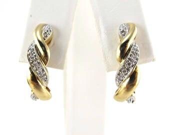 Braided Design Diamond Stud Earrings 14k Yellow Gold