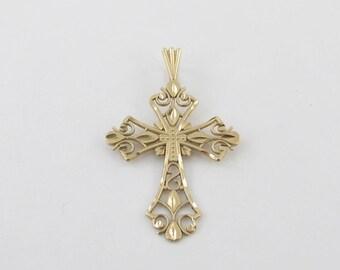 14k Yellow Gold Cross Charm - 14k Yellow gold Filigree Cross Pendant