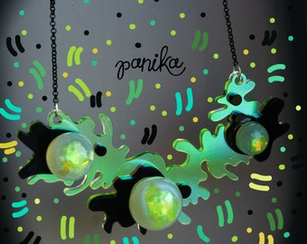 PANIKA yellow ball necklace -  laser cut acrylic necklace - fluorescent - statement holographic necklace -