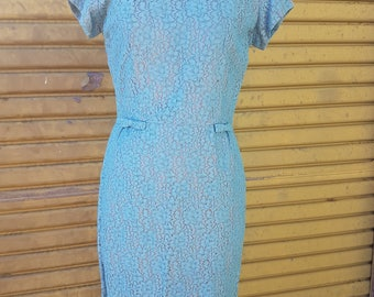 """turquoise and lilac 1950's- 1960's """"Rondels"""" lace dress"""