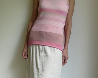 knit stripes top tank, pink, pale pink