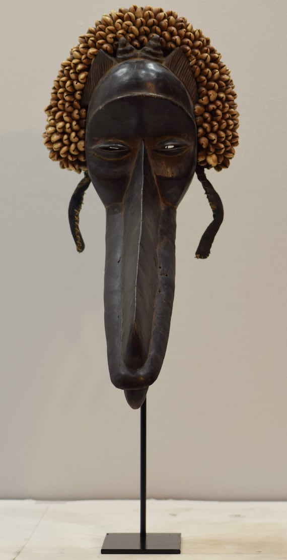 African Mask Bird Ge Gon Dan Cote d'Ivorie Wood Animal Spirit Dancing Status Mask