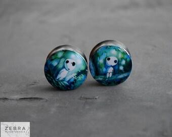 "Pair plugs Anime Spirit  image ear wooden Gauges,4,5,8,10,12,14,16,18,20,22,24-60mm;6g,4g,2g,0g,00g;1/4,5/16,3/8,1/2,9/16,5/8,3/4,7/8,1 1/4"""