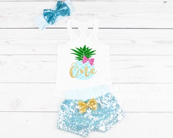 Girls Pineapple First Birthday Outfit, 1st Birthday Luau Pineapple Onesie, First Birthday Outfit, Pineapple Birthday, First Birthday Summer