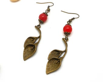 arum and Red bead charms and key earrings