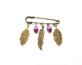 Leaf brooch fancy brass and purple beads with charms and co.