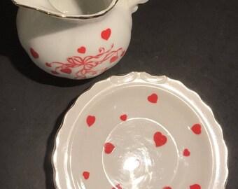 Lefton Red Hearts Ribbons of Love Pitcher & Saucer Creamer Japan 02646 RARE Vtg