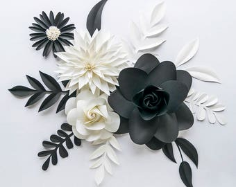 Paper Flowers Wall Decor / Paper Flowers / Flower Wall Decor / Paper Flower Wall / Paper Wall Flowers / Monochrome Nursery / Black and White