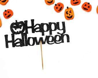 Happy Halloween Cake Topper - Halloween Cake Topper - Halloween Party Decor - Pumpkin Cake Topper - Halloween Party Supplies - Halloween