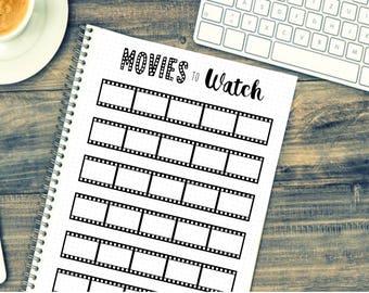 Bullet Journal - Movie List - Movies To Watch - Film List - Printable