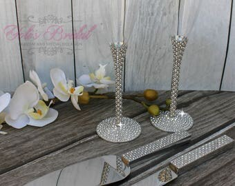 FAST SHIPPING!! Silver Swarovski Crystal Wedding toast Set, Champagne Glasses, Weeding Toasting flutes, Cake Knife and Server Set