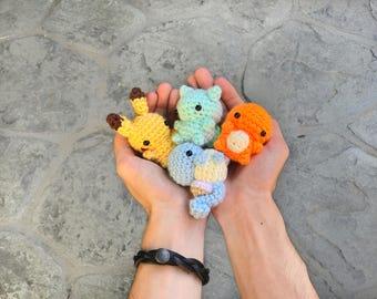 Pokemon Plush - Pokemon Amigurumi - Charmander Plush - Squirtle Plush - Bulbasaur Plush-  Pikachu Plush - Mini Amigurumi